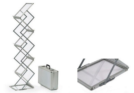 Aluminium collapsible magazine racks with carring bag