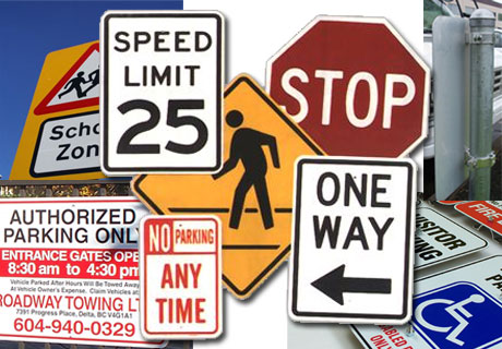 Traffic signs warns about dangerous road conditions and regulate parking and road traffic situations.